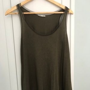 Olive Green Tank Top with Mesh Detailing